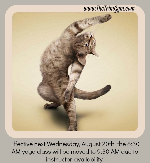 Wednesday AM Yoga Class Time Change
